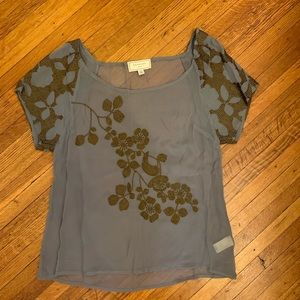 Anthropologie sheer embroidered blouse